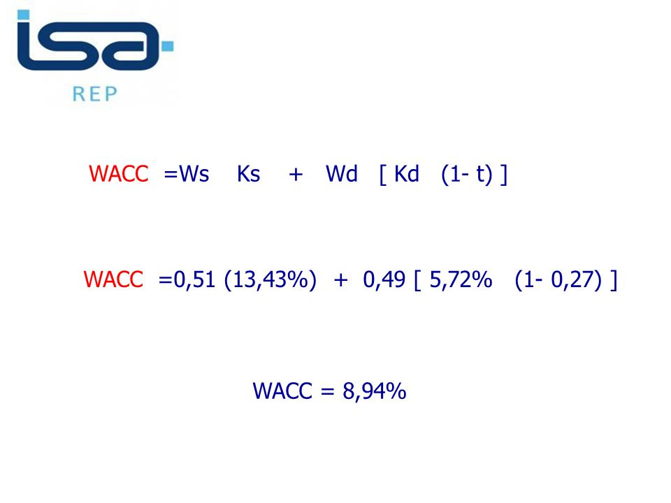 WACC =Ws Ks + Wd [ Kd (1- t) ]